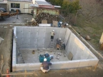柱状地盤改良、地中連続壁による地下室施工